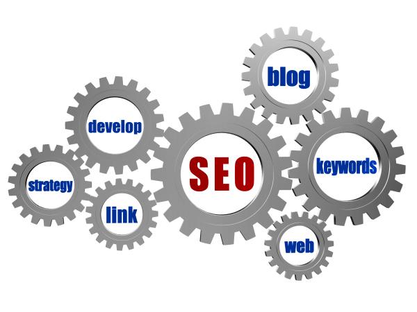 SEO search engine optimization blog keywords web develop strategy link - conceptual words in 3d silver grey metal gear wheels